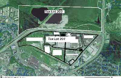 Map, showing rough boundaries of Tax Lots 201 and 203