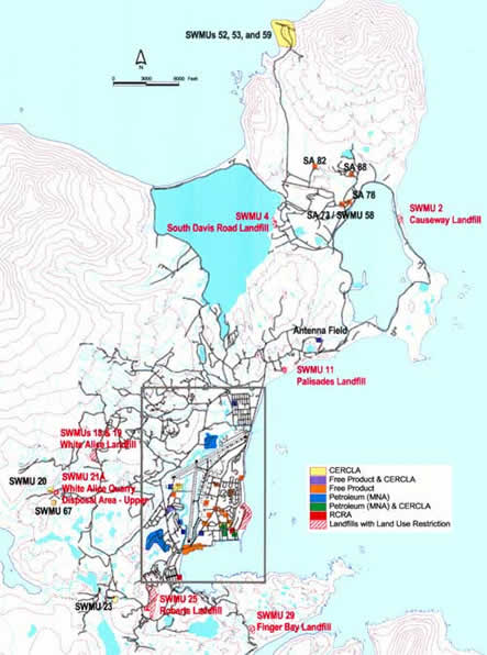 U.S. Navy map of major areas of contamination in and around Adak