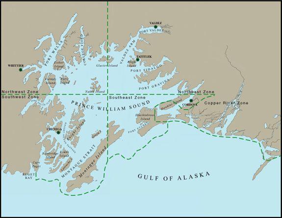 Prince William Sound Map Prince William Sound Geographic Response Strategies Prince William Sound Map