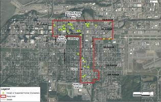 Aerial map of Fairview area studied in Anchorage, Alaska