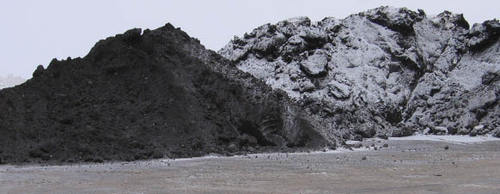 Oily snow stockpile