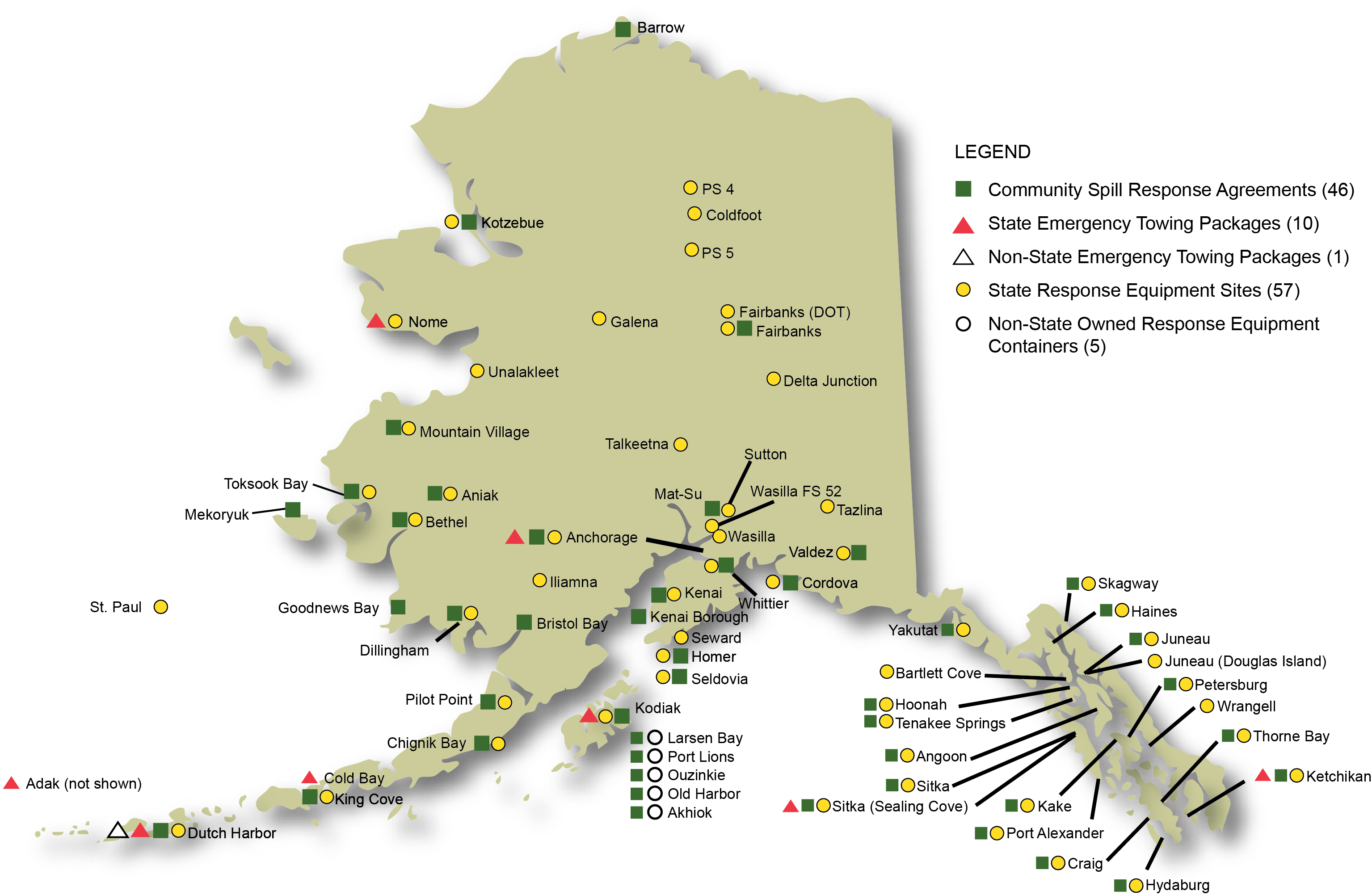 Map of Community Spill Response Agreements, Response Equipment Containers, and Emergency Towing Packages in Alaska