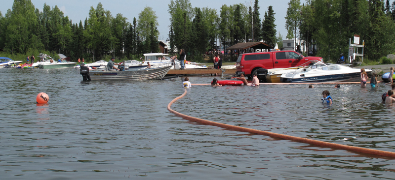 swimming and boat launch area