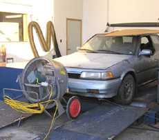 Image of vehicle on dynamometer